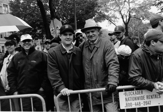 My father and I at the 2004 World Series parade (10/30/2004) - taken by a policeman who, despite being very friendly, couldn't hold the camera straight