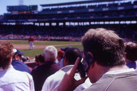 Idiot on his cell phone during a baseball game (summer, 2003)
