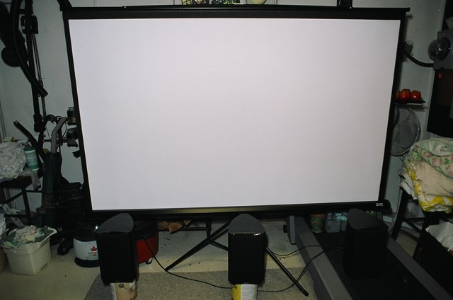screen; CinemaScope image is 3'x7'; speakers are $20 models from Best Buy (they are actually not bad)