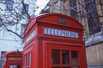 red telephone booth sign